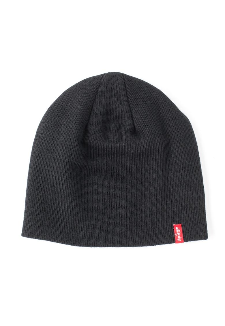 Levis Caciula tricotata fin neagra cu design clasic
