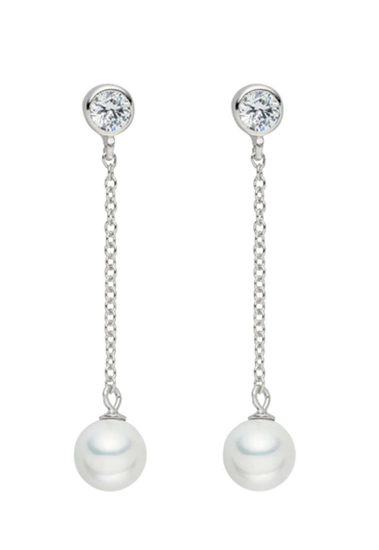 Clara Copenhagen Cercei argintii cu perle si zirconia
