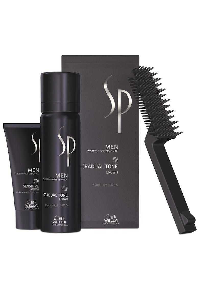 Set ingrijire par  SP Men: Nuantator SP Men Gradual Tone Brown – 60 ml + Sampon SP Men Sensitive – 30 ml + Perie Wella Professionals