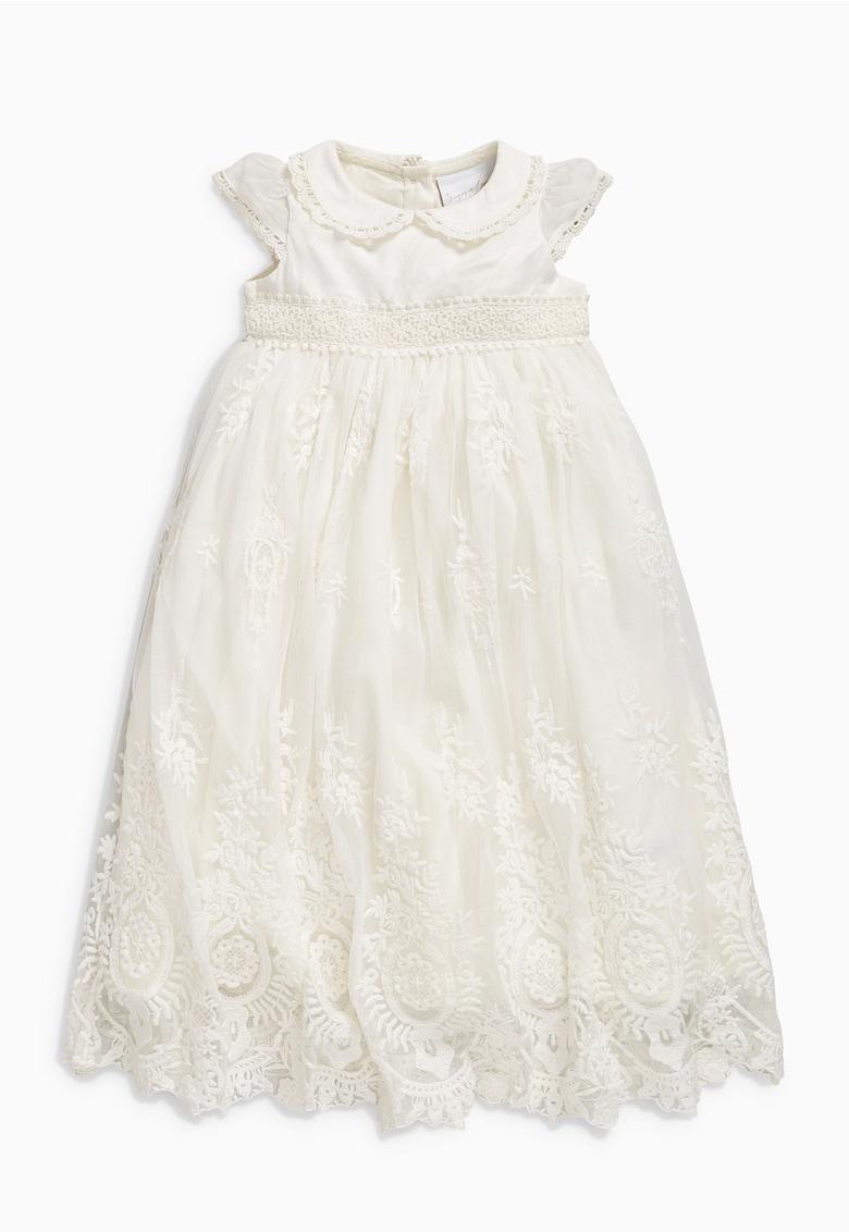 Rochie alb fildes cu detalii crosetate