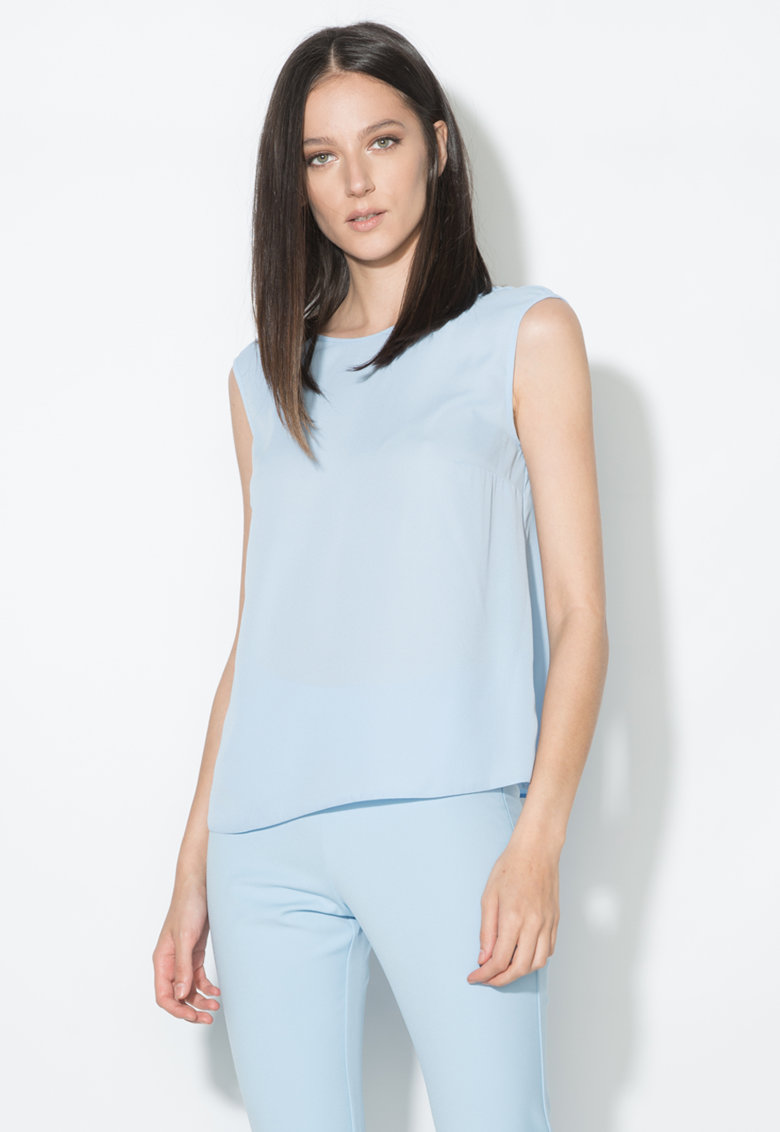 Top bleu transparent cu decolteu in V