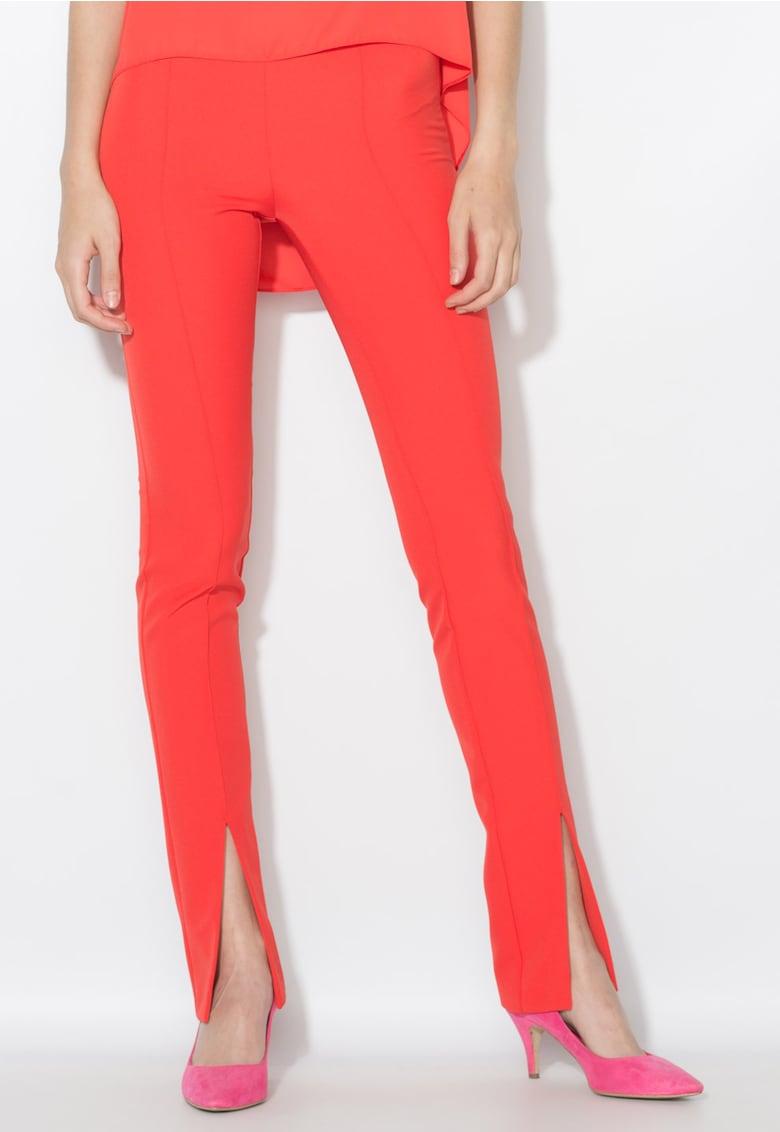 Zee Lane Collection Pantaloni rosu aprins cu pensa si slituri frontale