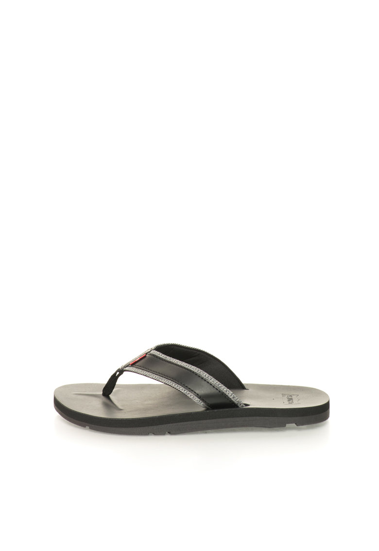 Papuci flip-flop negri cu garnituri de denim