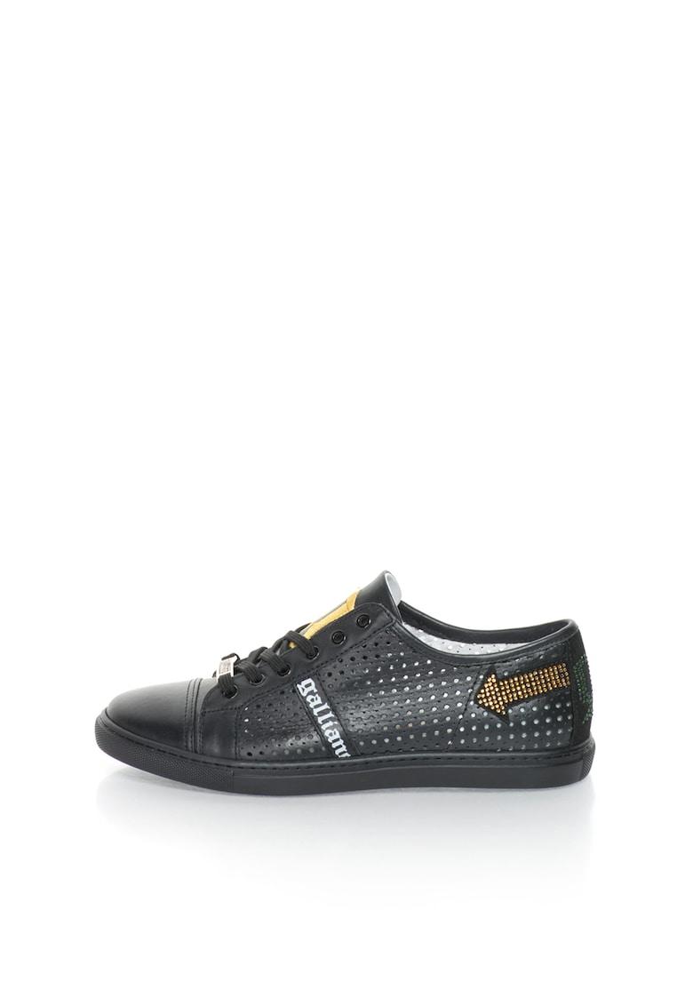 Pantofi sport negri de piele cu perforatii
