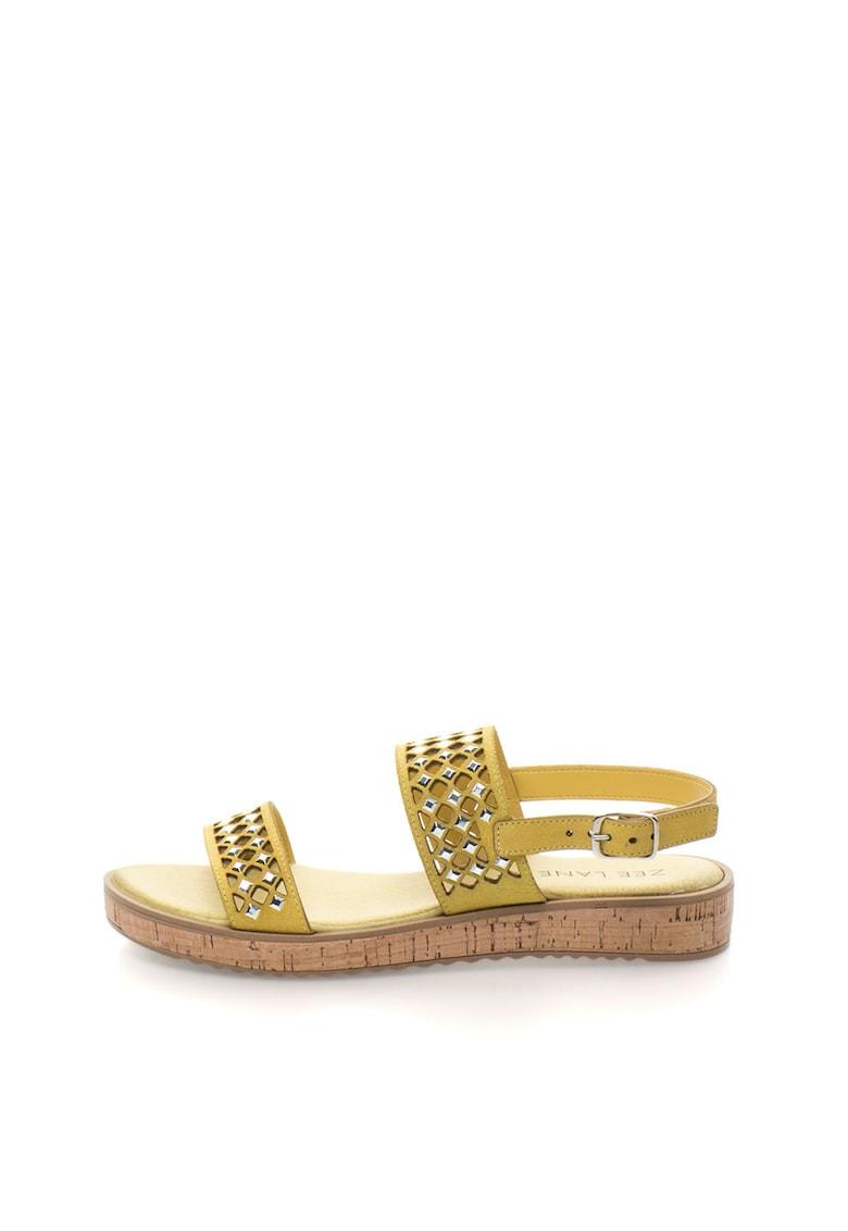 Sandale de piele intoarsa cu decupaje