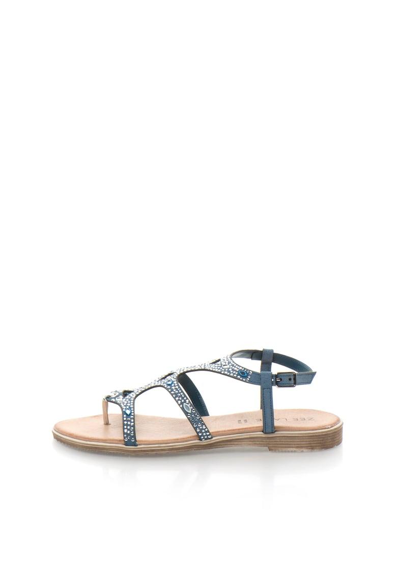 Sandale de piele intoarsa cu toc plat si strasuri de la Zee Lane