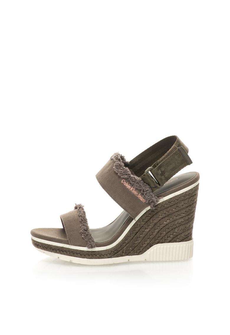 Sandale wedge tip espadrile verde militar Lael Calvin Klein Jeans