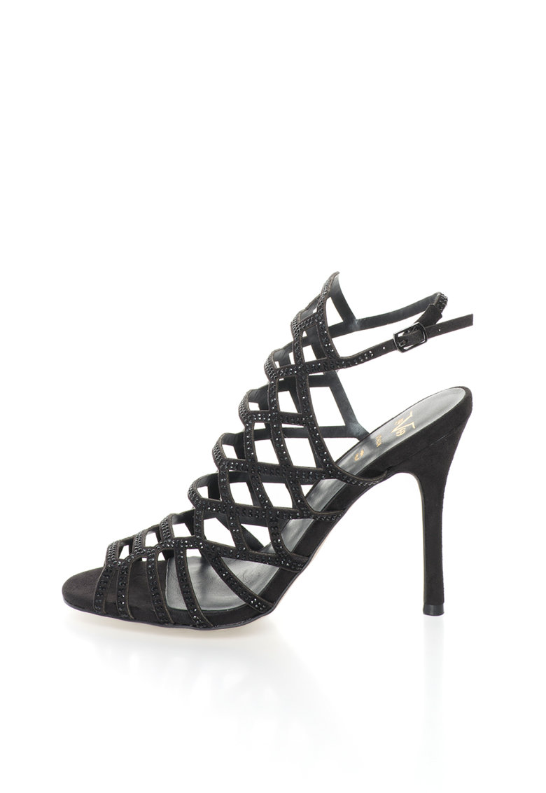 Sandale negre cu barete multiple si strasuri Emilie