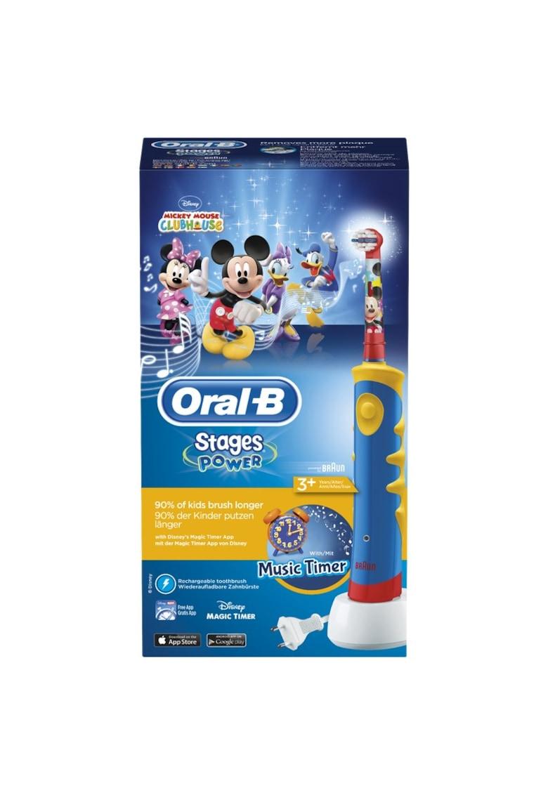 Oral-B Periuta de dinti electrica  Mickey Mouse pentru copii - 5600 oscilatii/min - Curatare 2D - 1 program - 1 capat - Cronometru muzical - Rosu/Albastru