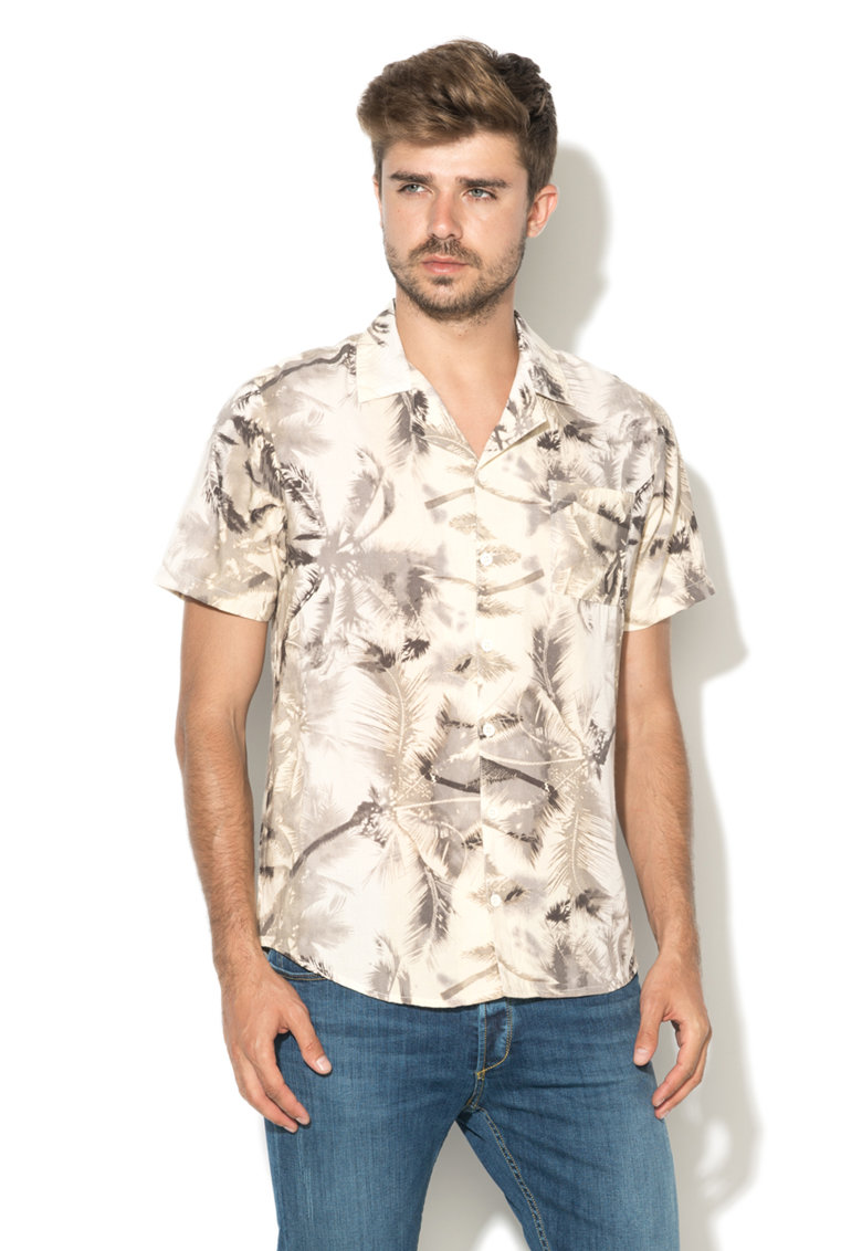 Camasa bej cu imprimeu tropical imagine fashiondays.ro Another Influence