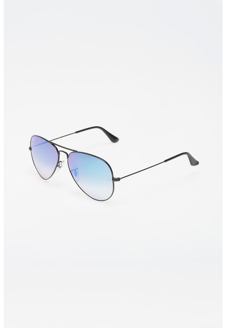Ochelari de soare aviator negri cu lentile oglinda – unisex Ray-Ban