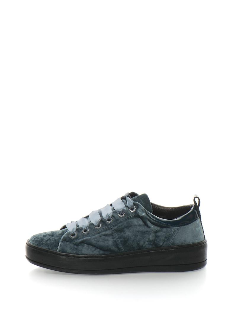 Bronx Pantofi sport de catifea cu garnitura de piele lacuita