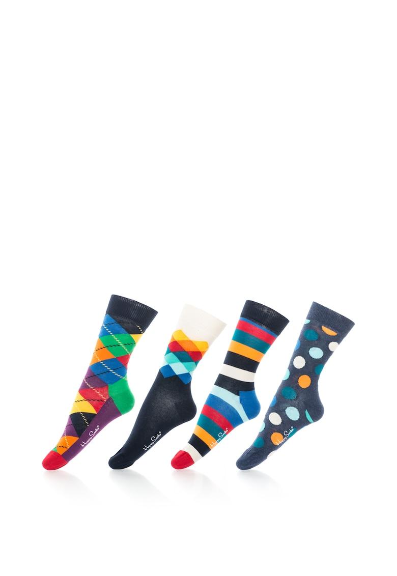 Set de sosete 3/4 cu diverse modele – unisex – 4 perechi Happy Socks