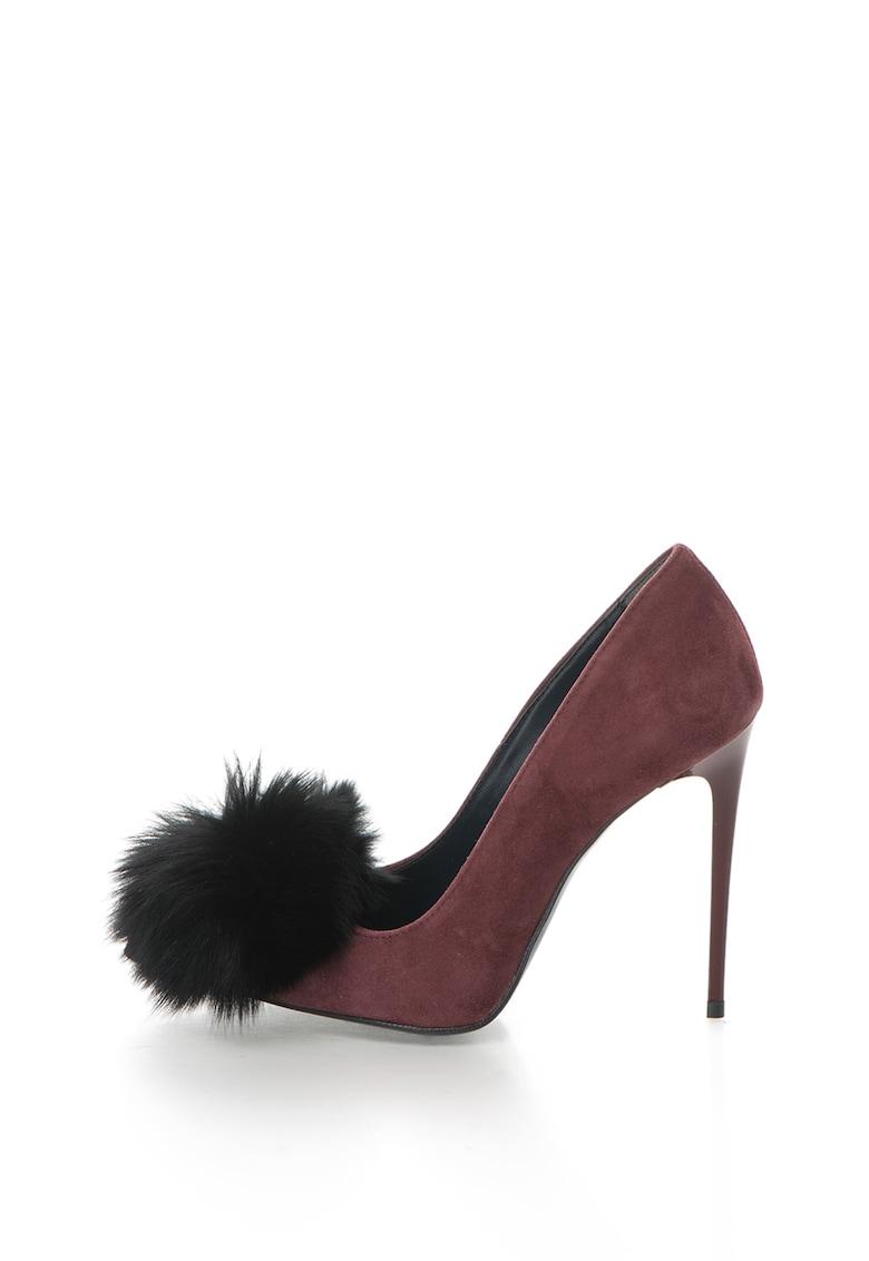 Zee Lane Pantofi stiletto de piele intoarsa cu ciucure de blana Denise
