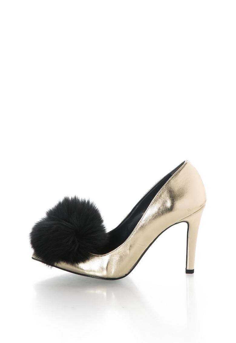 Pantofi cu varf ascutit si aplicatie de blana sintetica Anne de la Zee Lane