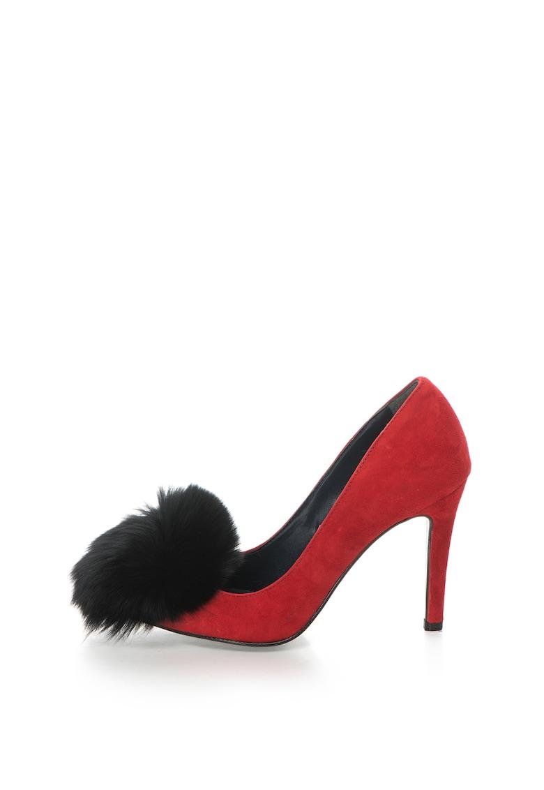 Pantofi stiletto de piele intoarsa cu varf ascutit si aplicatie de blana Anne de la Zee Lane