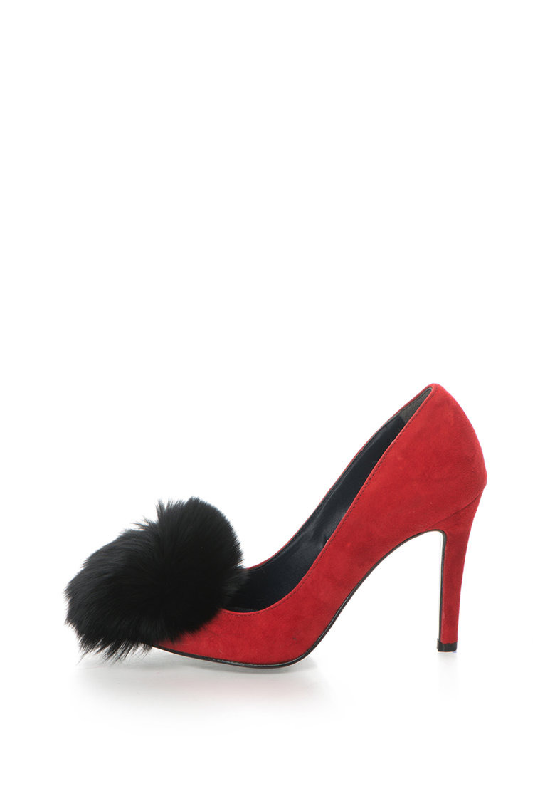 Zee Lane Pantofi stiletto de piele intoarsa cu varf ascutit si aplicatie de blana Anne