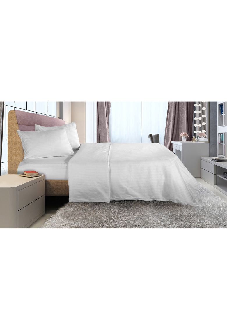 Lenjerie de pat pentru 2 persoane Damasc  100% bumbac – Alb de la Heinner Home