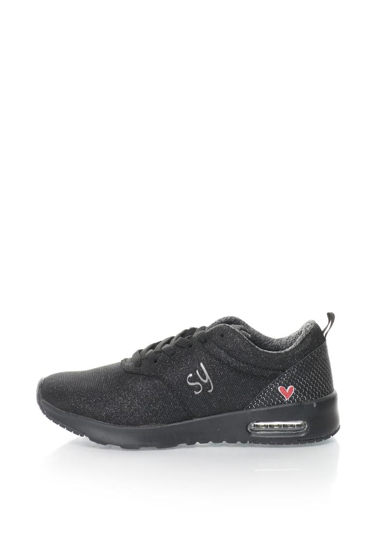 Sweet Years Pantofi sport de plasa cu particule stralucitoare
