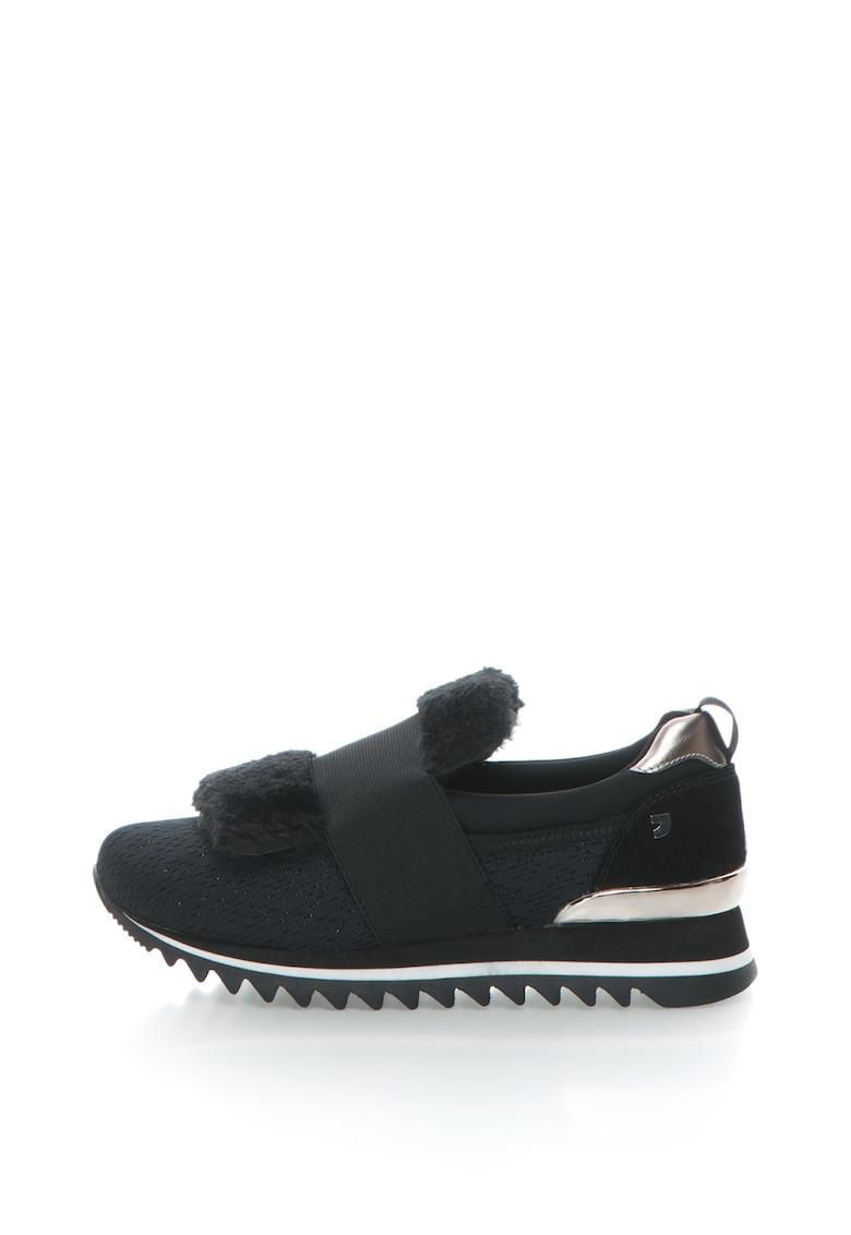 Pantofi sport slip-on cu garnituri de blana sintetica
