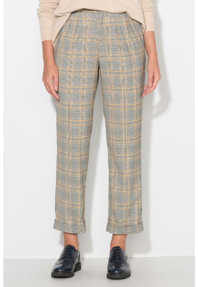 Zee Lane Pantaloni conici – in carouri – cu terminatii rasucite