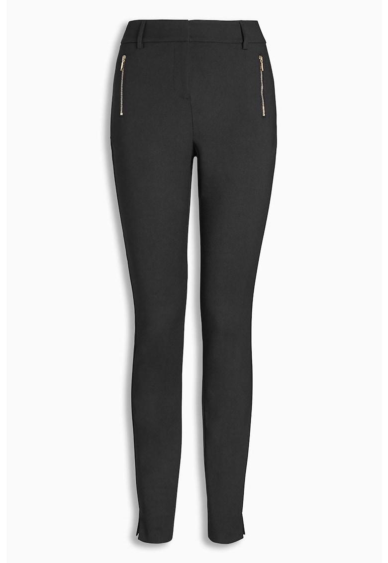 Pantaloni skinny cu fermoare decorative