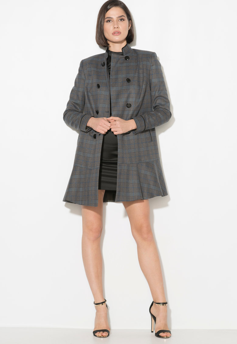 Palton cu model tartan Zee Lane Collection