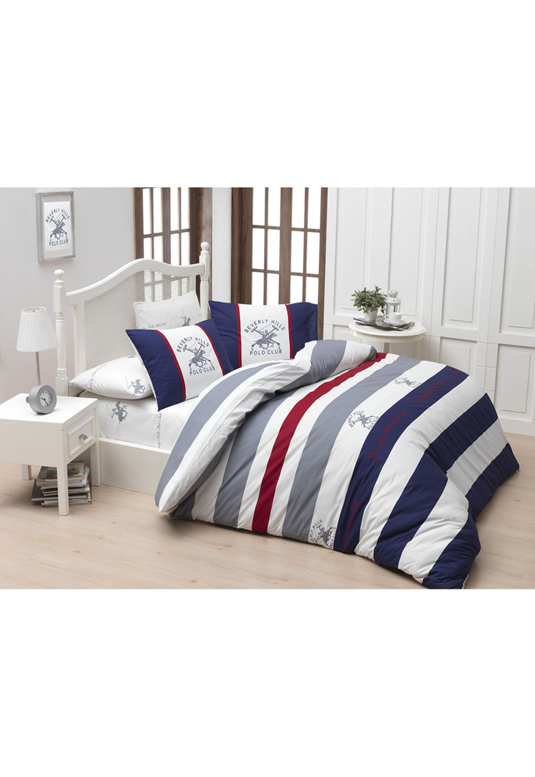 Lenjerie de pat pentru 2 persoane bumbac ranforce - model 001 - Albastru inchis thumbnail