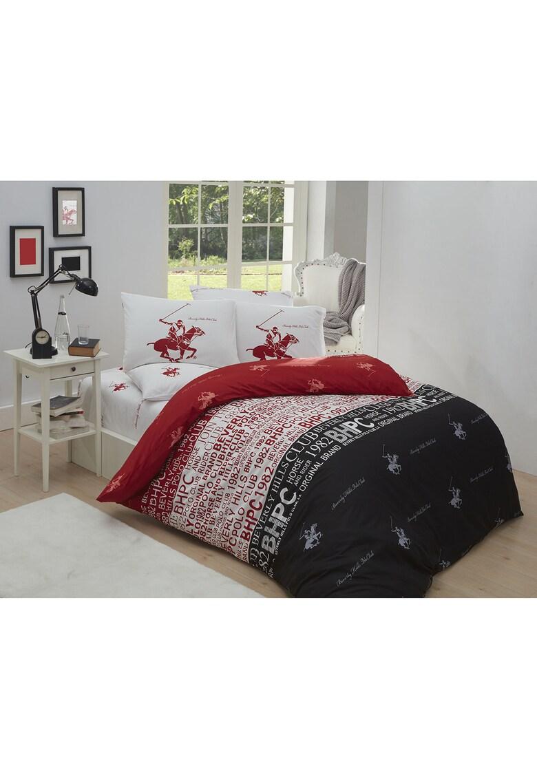 Lenjerie de pat pentru 2 persoane  bumbac ranforce – model 004 – Rosu