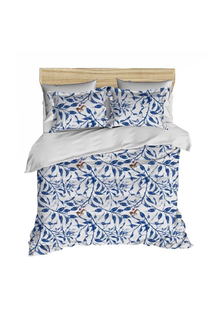 Lenjerie de pat pentru 2 persoane  bumbac ranforce – model 005 – Albastru Beverly Hills Polo Club