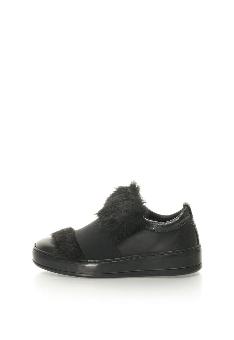 Pantofi sport slip-on de piele cu captuseala de blana sintetica