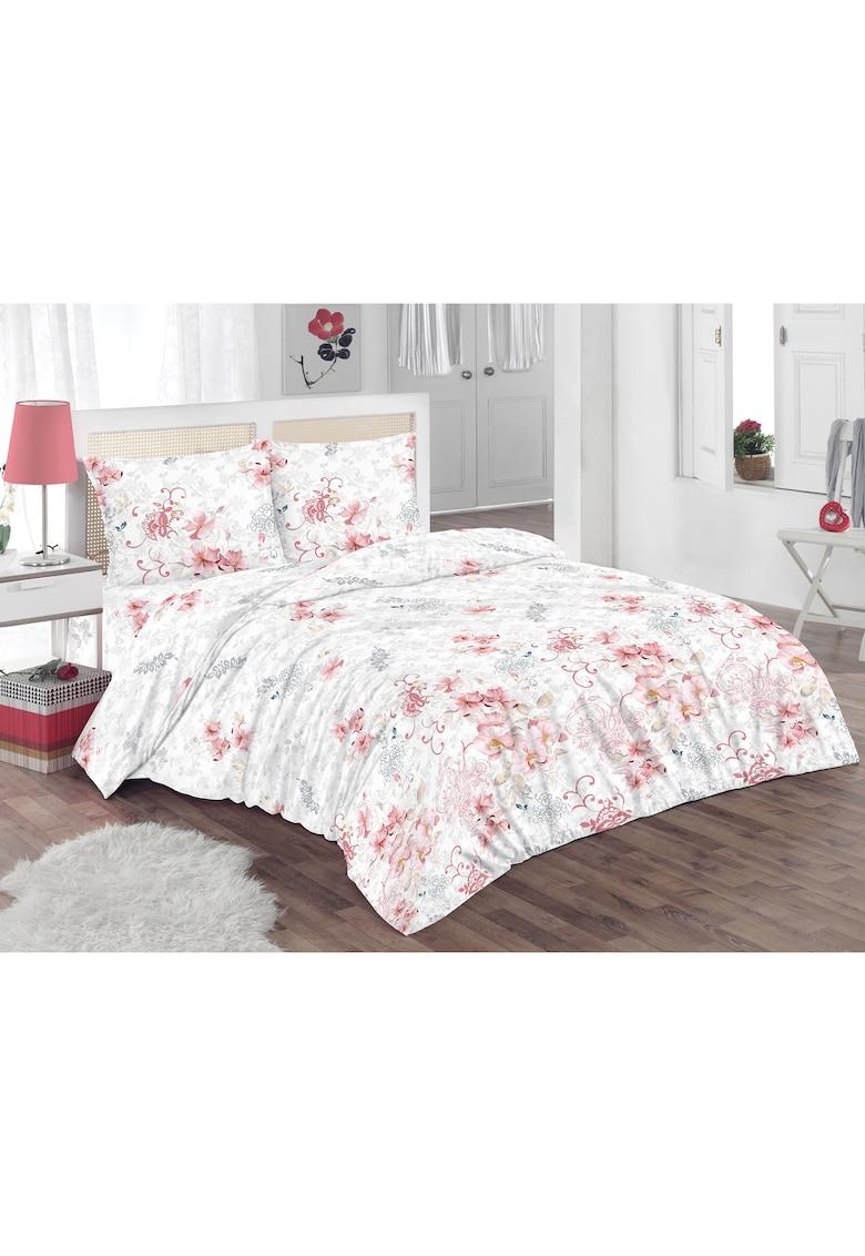 Set lenjerie de pat (cearsaf + husa pilota + 2 huse perne) pentru pat de dimensiuni 160x200 cm - 132TC - 100% bumbac - imprimeu floral - alb/gri/roz
