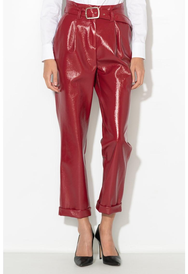 Zee Lane Collection Pantaloni cu aspect peliculizat si curea de piele sintetica