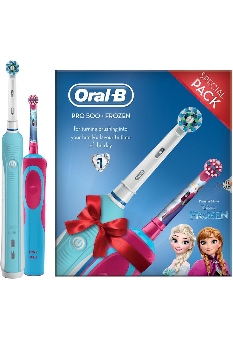 Set Periuta de dinti electrica  Pro 500 & Periuta de dinti electrica Oral-B Vitality Frozen pentru copii de la Oral-B