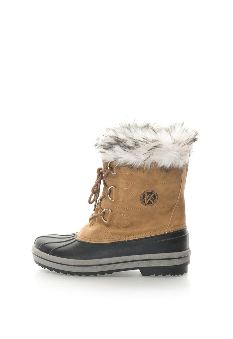 Cizme de iarna fara inchidere cu garnitura de blana sintetica Elisa