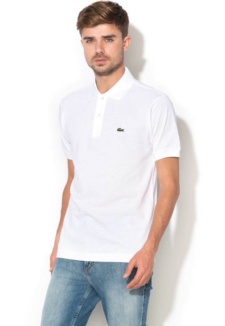 Tricou polo regular fit din material pique