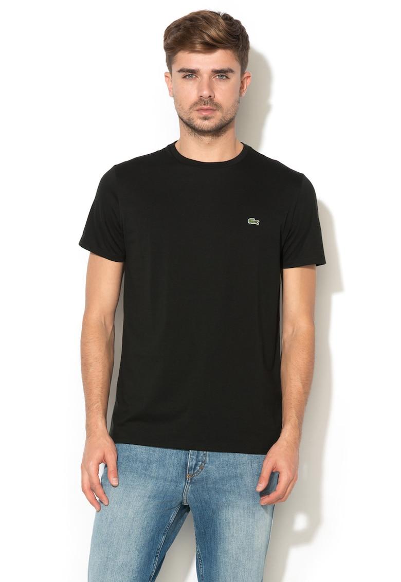 Tricou cu decolteu la baza gatului si aplicatie logo discreta imagine