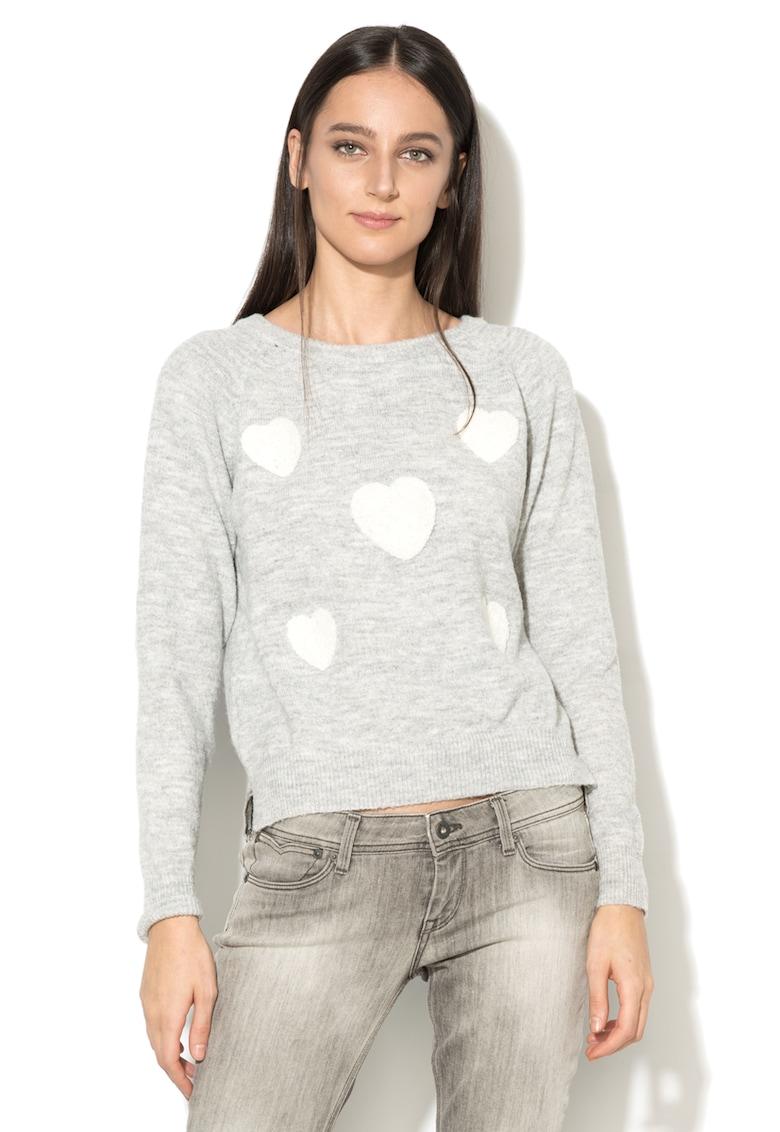 Pulover tricotat fin cu aplicatii in forma de inima thumbnail