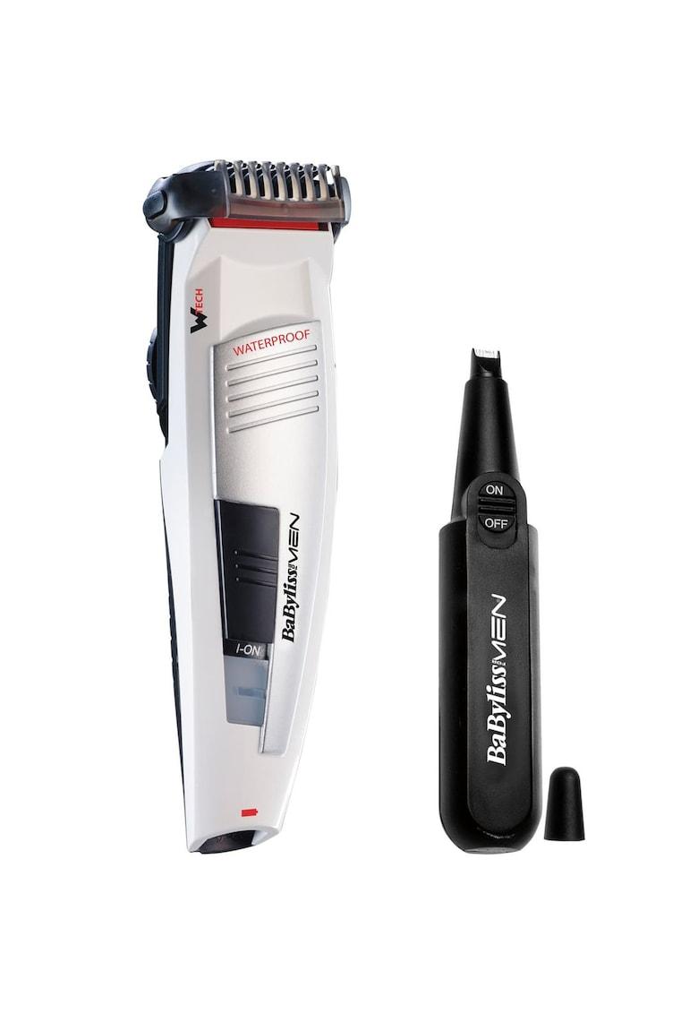 Aparat de tuns barba –   -Lame inox – 1-20 mm – Negru/Argintiu – utilizare cu sau fara fir + Trimmer nas si urechi – Negru de la BaByliss