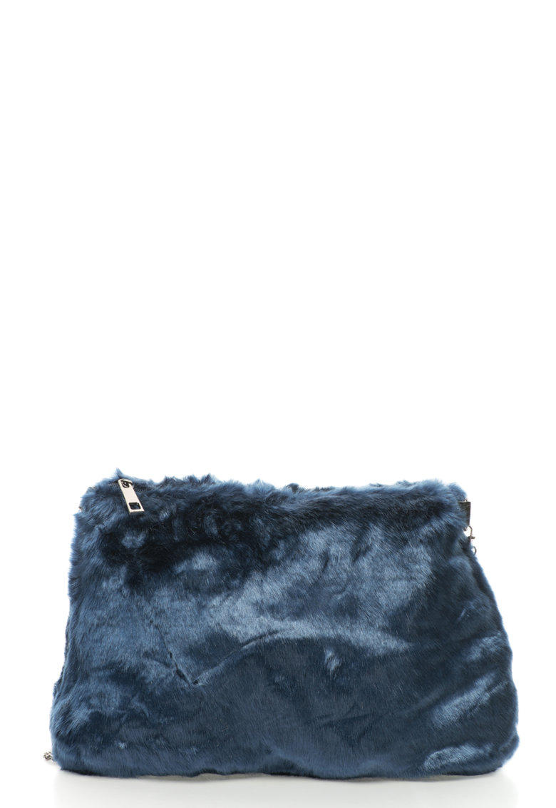 Oakoui Geanta crossbody din blana sintetica cu bareta lant