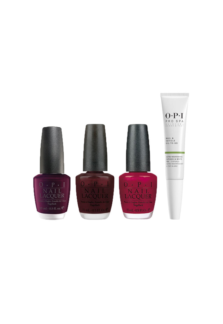 Pachet promo : Lac de unghii Midnight In Moscow - 15ml + Lac de unghii Black Cherry Chutney - 15ml + Lac de unghii Malaga Wine - 15ml + OPI ProSpa Nail & Cuticle Oil To Go - 7.5ml thumbnail