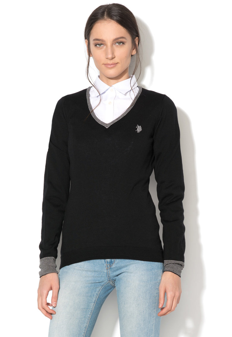 US Polo Assn Pulover tricotat fin – din lana virgina – cu decolteu in V