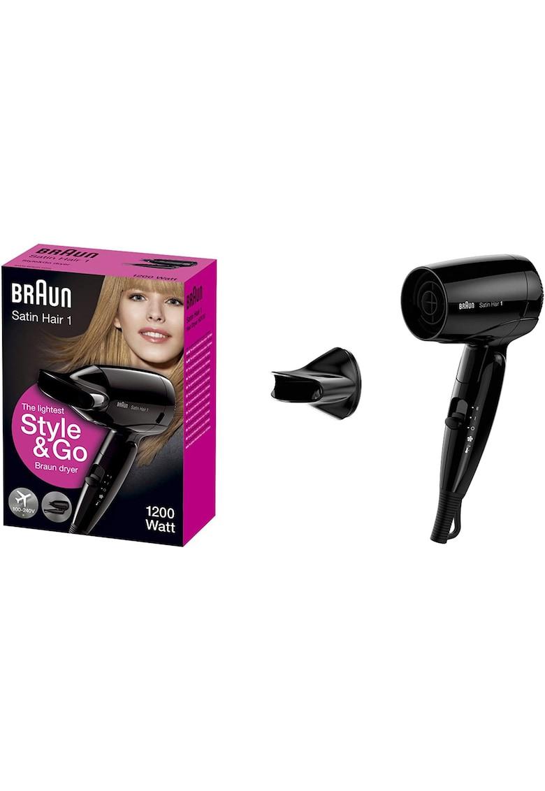 Uscator de par Satin Hair HD 130 - 1200 W - 2 Trepte temperatura - Negru