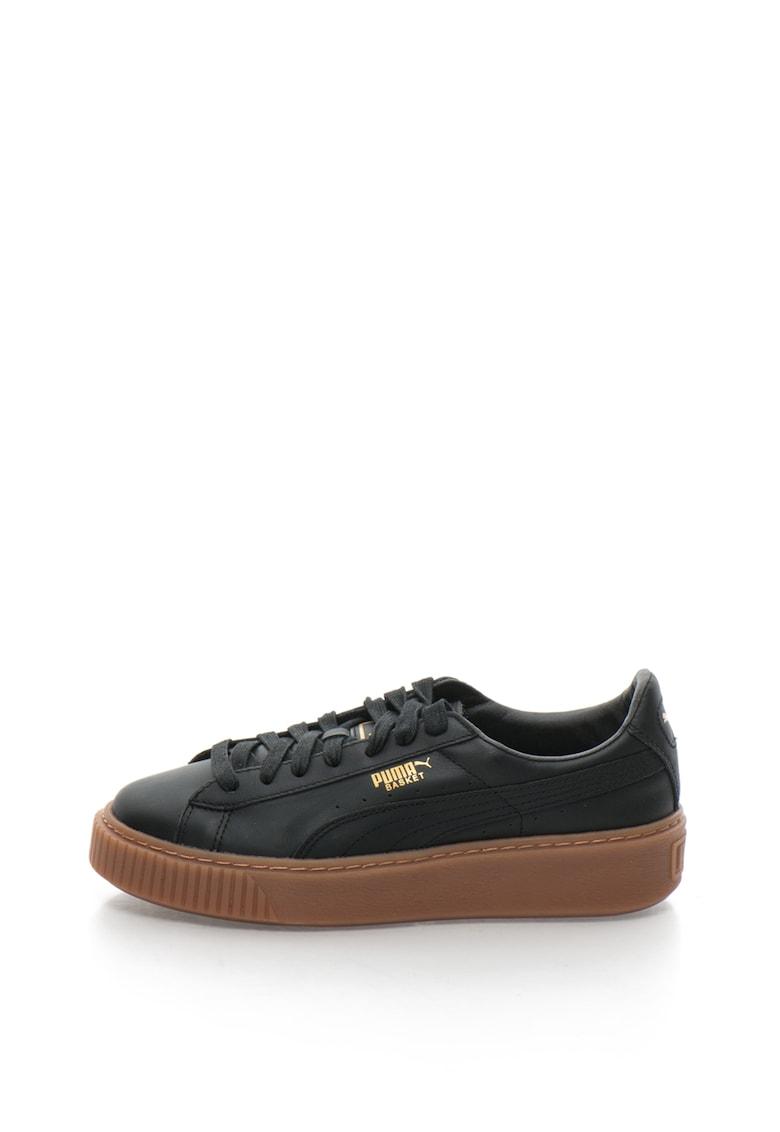 Pantofi sport din piele cu platforma