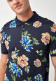 NEXT Regular Fit galléros póló virágmintával férfi