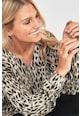 NEXT Pulover din tricot fin, cu animal print si decolteu in V Femei