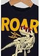 GAP Tricou cu decolteu la baza gatului cu imprimeu dinozaur, Bleumarin inchis/Ocru/Crem Baieti