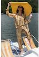 MIAU by Clara Rotescu Set de bluza de matase si pantaloni crop cu model abstract Femei