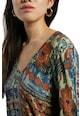 DESIGUAL Bluza din jerseu cu decolteu in V si imprimeuri variate Femei