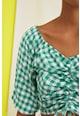 Trendyol Bluza crop cu drapaj si model gingham Femei